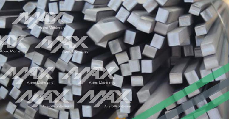 Perfil cuadrado de acero macizo de alta resistencia, Max Acero Monterrey.